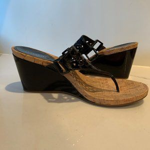Coach patent leather cork wedges